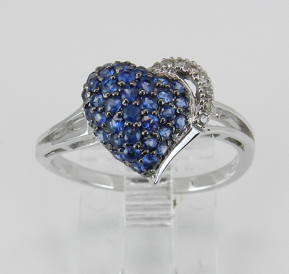 Sapphire Heart Ring, Diamond and Sapphire Ring, Sapphire Cluster Ring, White Gold Ring, September Birthstone, Gold Heart Ring, Size 7