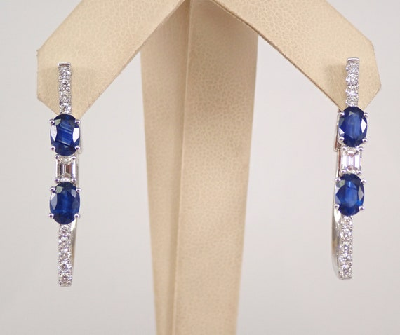 3.05 ct Diamond and Sapphire Three Stone Earrings 18K White Gold Hoop Design