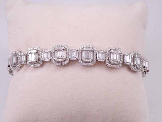 14K White Gold 7.24 ct Diamond Statement Bracelet Tennis Bracelet Great Gift