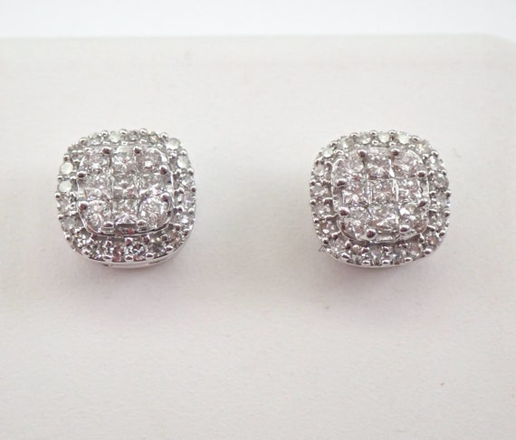 White Gold Diamond Studs Cluster Halo Stud Earrings 1/2 ct Cushion Cut