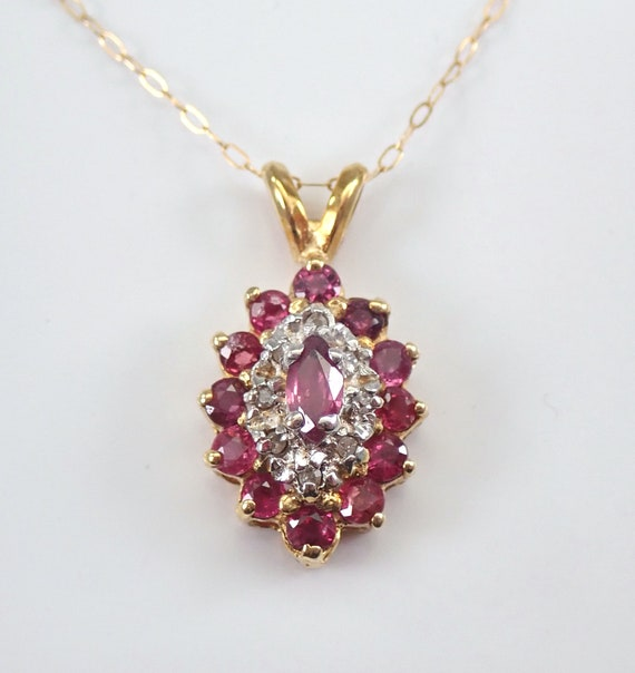 "Vintage Diamond and Ruby Halo Pendant Necklace 14K Yellow Gold 18"" Chain July Birthstone"