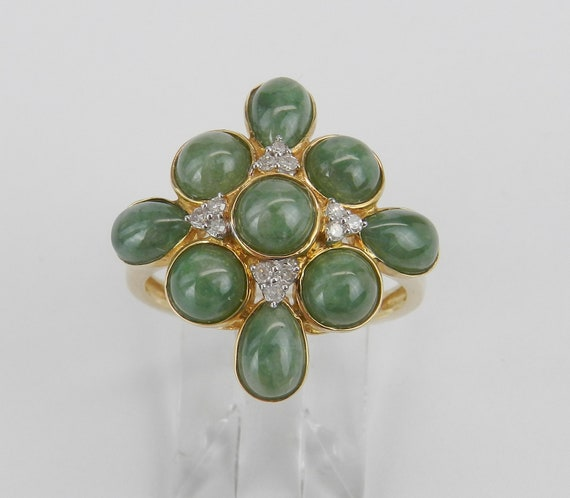 14K Yellow Gold Jade Ring, Jade and Diamond Ring, Jade Cluster Ring, Jade Cocktail Ring, Green Jade Ring, Size 8