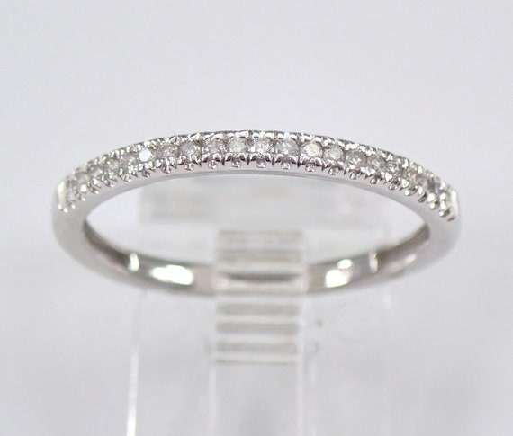 Diamond Wedding Ring Stackable Anniversary Band White Gold Size 7