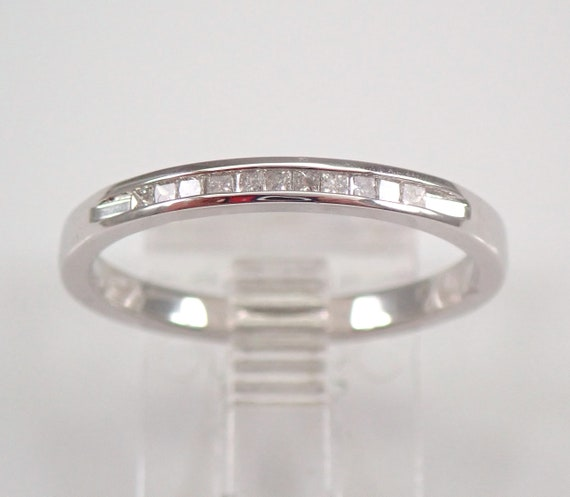 White Gold Princess Cut Diamond Wedding Ring Anniversary Band Stackable Size 7 FREE SIZING
