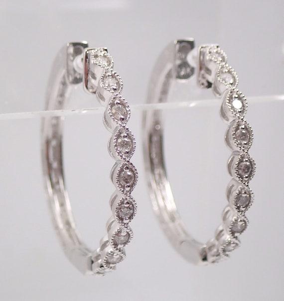 "14K White Gold Diamond Hoop Earrings Diamond Hoops Huggies Gift 1"" Diameter Modern Design"