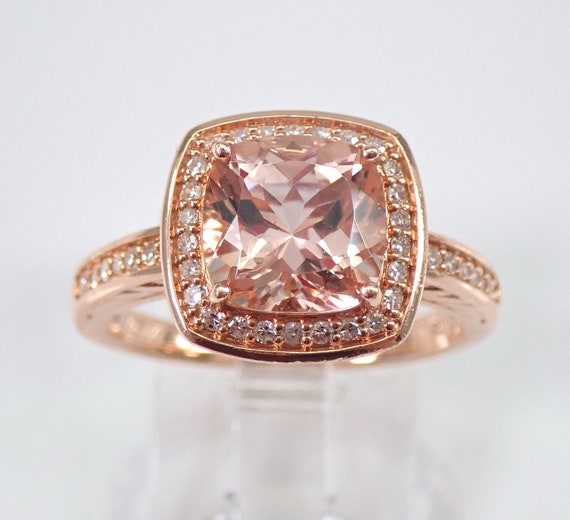 Morganite and Diamond Halo Engagement Ring 14K Rose Gold Size 7 Cushion Cut FREE Sizing