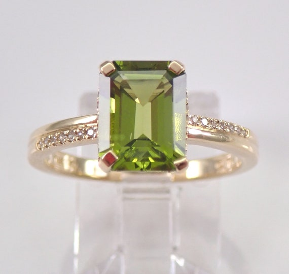 Emerald Cut Peridot and Diamond Engagement Ring 14K Yellow Gold Size 7 August Birthstone Gem FREE Sizing