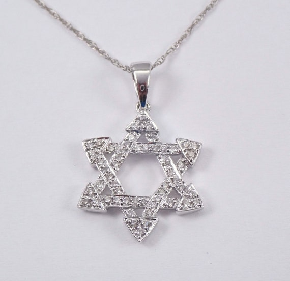 "Diamond Star of David Pendant Necklace 14K White Gold 17"" Chain Jewish Religious Charm"