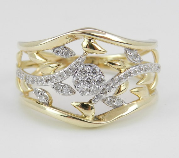 Diamond Cluster Flower Ring Anniversary Cigar Band Yellow Gold Cocktail Size 7