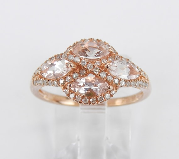 Rose Gold Morganite and Diamond Cluster Anniversary Ring Wedding Band Size 7.25