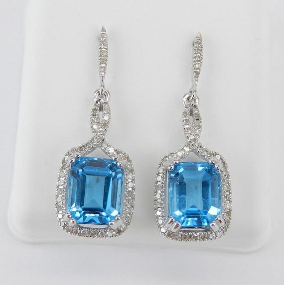 14K White Gold 4.50 ct Emerald Cut Blue Topaz and Diamond Dangle Drop Earrings