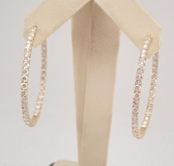 14K Yellow Gold 4.17 ct Diamond Hoop Earrings Large Diamond Hoops In and Out