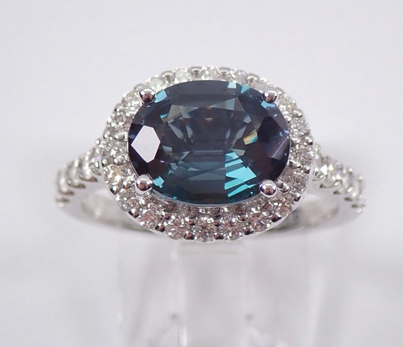 Alexandrite and Diamond Ring Color Change Gemstone Ring 18K White Gold Halo Ring FREE Sizing