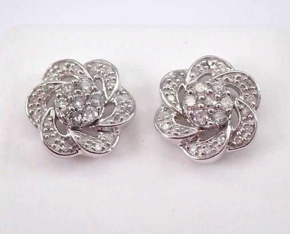 White Gold Diamond Cluster Flower Stud Earrings Halo Jacket Set Studs