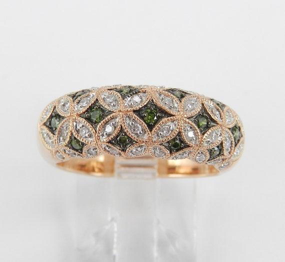 14K Rose Gold Ring, Green Diamond Ring, Dome Anniversary Ring, Pink Gold Wedding Ring, Diamond Flower Ring, Fancy Diamond Band
