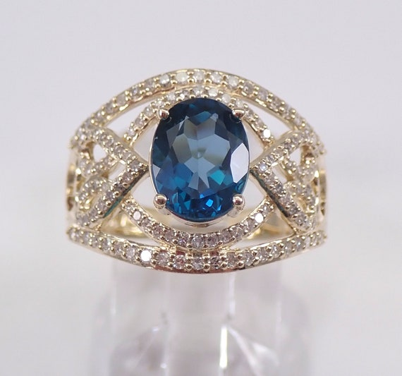 London Blue Topaz and Diamond Engagement Ring Yellow Gold Size 7 December Gem FREE Sizing