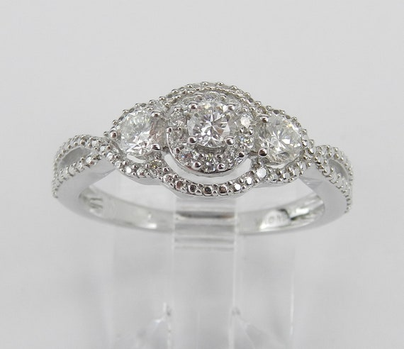 14K White Gold Three Stone Round Halo Diamond Engagement Ring