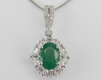 """White Gold Emerald and Diamond Halo Pendant Necklace 18"""" Chain May Birthstone"""