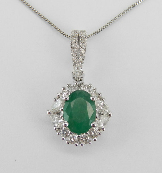 """Emerald Necklace, White Gold Emerald and Diamond Halo Pendant Necklace 18"""" Chain May Birthstone"""