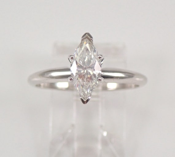 14K White Gold .90 ct Marquise SOLITAIRE Diamond Engagement Ring EGL Size 7.5