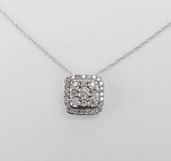 "White Gold Diamond Cushion Cut Cluster Pendant Wedding Necklace Chain 18"""