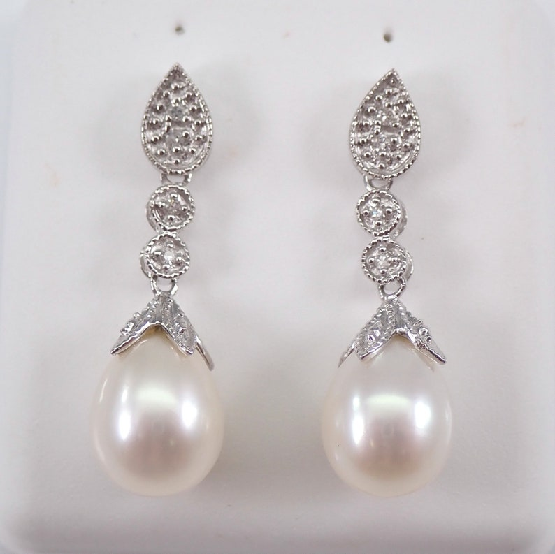 Pearl and Diamond Dangle Drop Earrings 14K White Gold June image 0