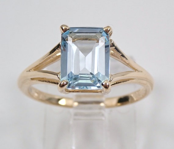 Antique Vintage 14K Yellow Gold Aquamarine Solitaire Engagement Ring Size 5.75