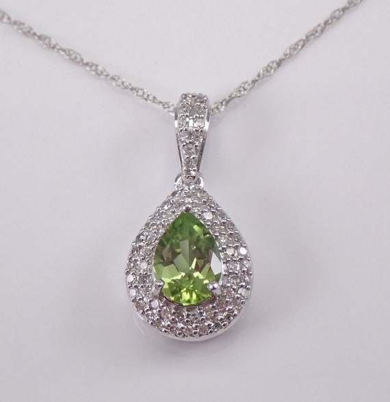 "Diamond and Pear Peridot Halo Pendant 14K White Gold Necklace 18"" Chain Teardrop August Gem"