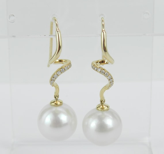 12 mm Pearl and Diamond Dangle Drop Swirl Earrings 14K Yellow Gold June Birthstone