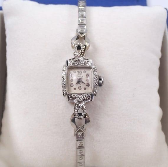 Antique Vintage Art Deco 14K White Gold Diamond ELGIN Ladies Tennis Bracelet Watch
