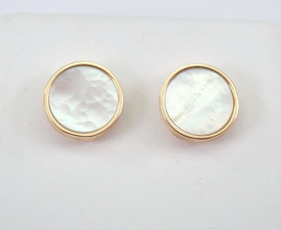 14K Yellow Gold Mother of Pearl Stud Earrings Round Studs Buttons
