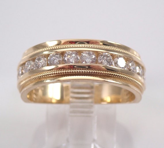 14K Yellow Gold Mens 1.00 ct Diamond Wedding Band Anniversary Ring Size 9.75