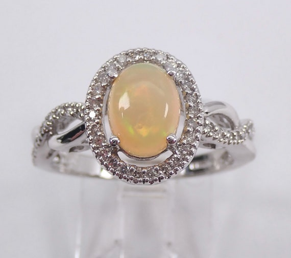 White Gold Diamond and Opal Halo Promise Engagement Ring Size 7 October Gemstone