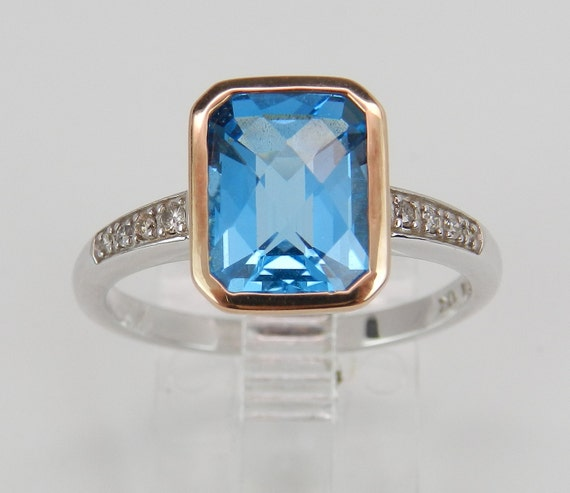 Diamond and Blue Topaz Engagement Ring Promise Ring Size 7.25 White Rose Gold FREE Sizing