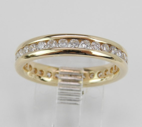 Diamond Eternity Ring, Diamond Wedding Ring, Anniversary Band, 14K Yellow Gold Stackable Ring, Size 6.75