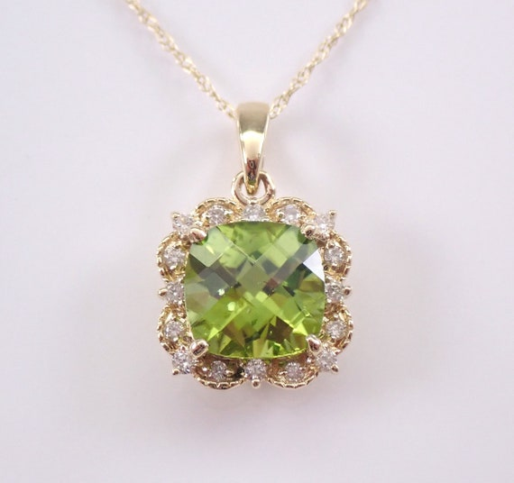 "Cushion Cut Peridot and Diamond Halo Pendant Yellow Gold Necklace 18"" Chain August Birthstone"