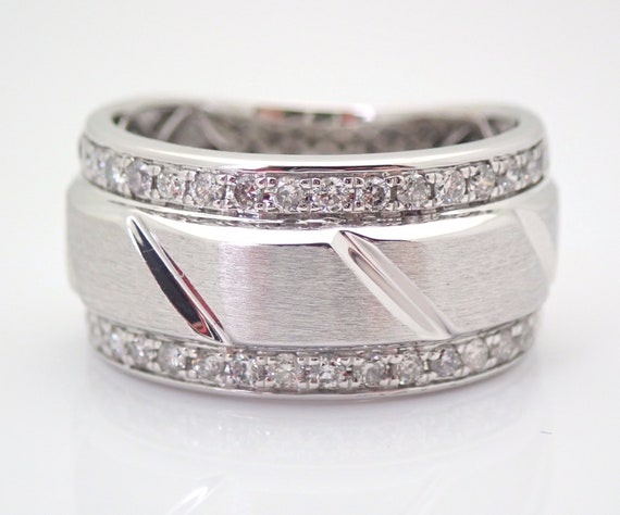 Diamond 10 mm Wedding Ring Anniversary Band White Gold Size 8 Unisex Mens