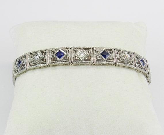 Diamond and Sapphire Bracelet Antique Bracelet Art Deco Bracelet 14K White Gold Platinum Circa 1920's