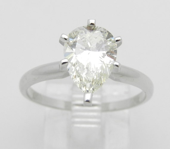 1.80 ct Pear SOLITAIRE Diamond Engagement Ring 14K White Gold EGL Certificate