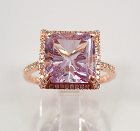 4.25 ct Diamond and Princess Cut Amethyst Halo Engagement Ring 14K Rose Gold Size 7 February Birthstone FREE Sizing