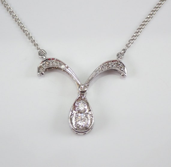 "Antique 14K White Gold Diamond Transformable Heart Pendant Necklace 17"" Chain"