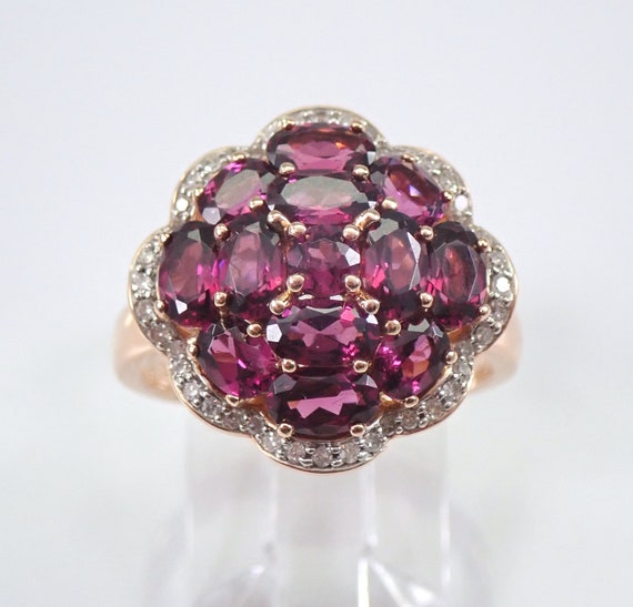 1.90 ct Rhodolite Garnet and Diamond Cluster Flower Ring 14K Rose Gold Size 7 January Birthstone FREE Sizing