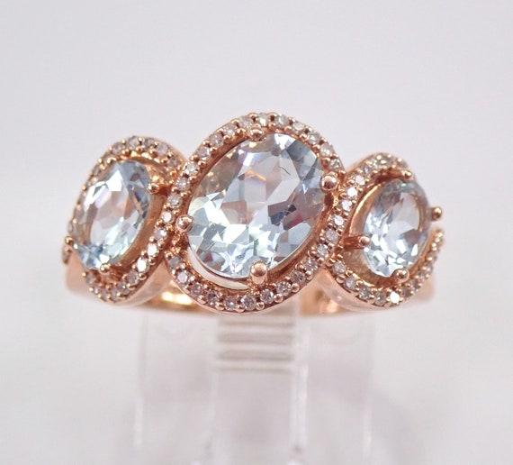 14K Rose Gold 2.50 ct Aquamarine and Diamond Three Stone Anniversary Ring Halo Wedding Band Size 7 FREE Sizing