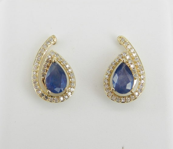 1.50 ct Sapphire and Diamond Stud Earrings September Birthstone Studs Yellow Gold Earrings