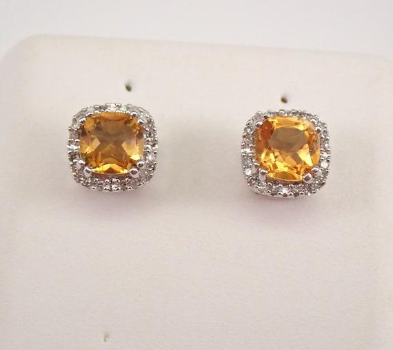 Cushion Cut Citrine and Diamond Stud Earrings Halo Studs White Gold November Gemstone