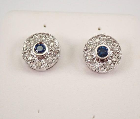 14K White Gold Sapphire and Diamond Stud Earrings Halo Studs September Birthday