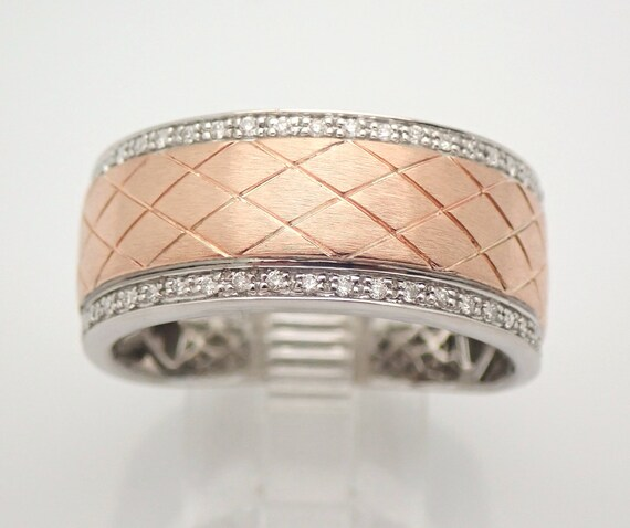 Diamond Wedding Ring Anniversary Band White and Rose Gold Size 11 Unisex Mens
