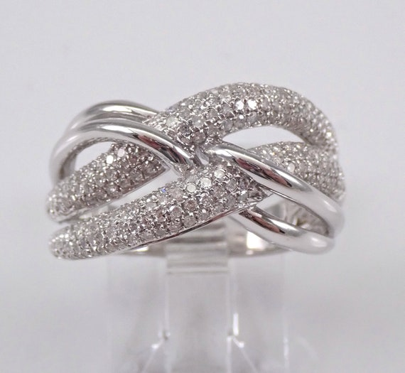 14K White Gold Diamond Crossover Wedding Ring Multi Row Anniversary Band Size 7