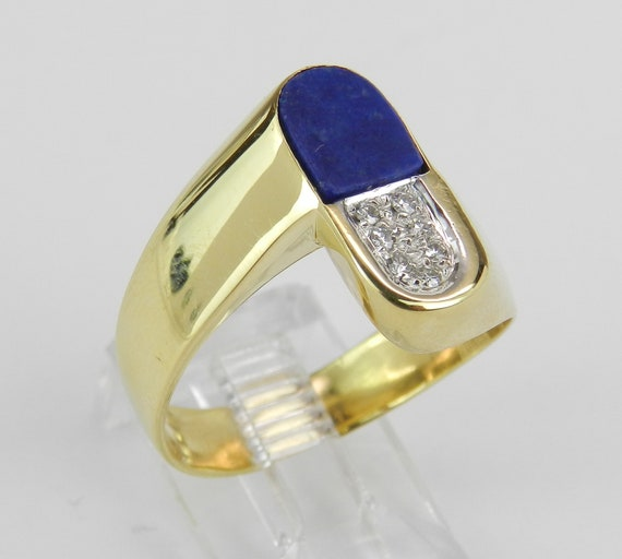 Lapis Lazuli Ring, Vintage Lapis Ring, Antique 18K Yellow Gold Ring, Unisex Estate Ring, Diamond and Lapis Ring, Mens Pinky Ring, Size 9.5