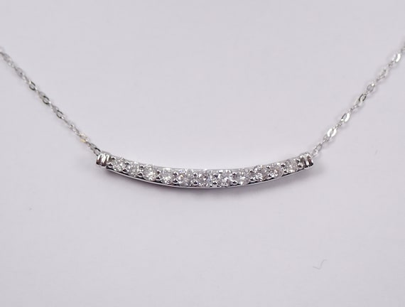 "Diamond Bar Necklace Wedding Necklace Gold Chain 17"" Modern Design"